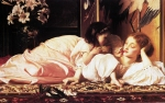 "Lord Frederick Leighton (1830-1896) Mother and Child Oil on canvas, c1865 82 x 48.2 cm (32.28"" x 18.98\"") Blackburn Museum and Art Gallery"