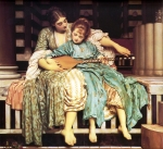 "Lord Frederick Leighton (1830-1896) Music Lesson Oil on canvas, c1877 118.1 x 92.8 cm (3\' 10½"" x 3\' .54\"") Guildhall Art Gallery (London, United Kingdom)"