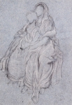 Lord Frederick Leighton (1830-1896) Study of Seated Girls watching the festive procession Chalk on Blue Paper 39.5 x 23.5 cm (15.55