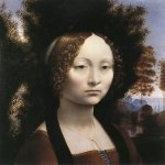 Leonardo da Vinci (1452 - 1519)  Ginevra de' Benci  Oil on wood, circa 1476  38.8 cm × 36.7 cm (15.3 in × 14.4 in)  National Gallery of Art, Washington, D.C., USA