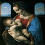 Leonardo di ser Piero da Vinci (1452 - 1519)  Madonna Litta  Oil on canvas (transferred  panel), circa 1490  42 cm × 33 cm (17 in × 13 in)  Hermitage Museum, Saint Petersburg, Russia