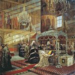 Alexander Dmitrievich Litovchenko ( 1835 - 1890)  Tsar Alexis and Archbishop Nikon Venerating the Relics of Patriarch Philip  Oil on canvas, 1886  225 x 183.8 см  State Tretyakov Gallery, Moscow, Russia