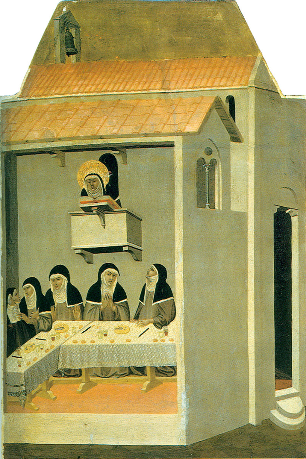 Pietro Lorenzetti (c. 1280 - 1348)  Humilitas Reads in the Refectory  Gold and tempera on panel, 1316  Galleria degli Uffizi, Florence, Italy