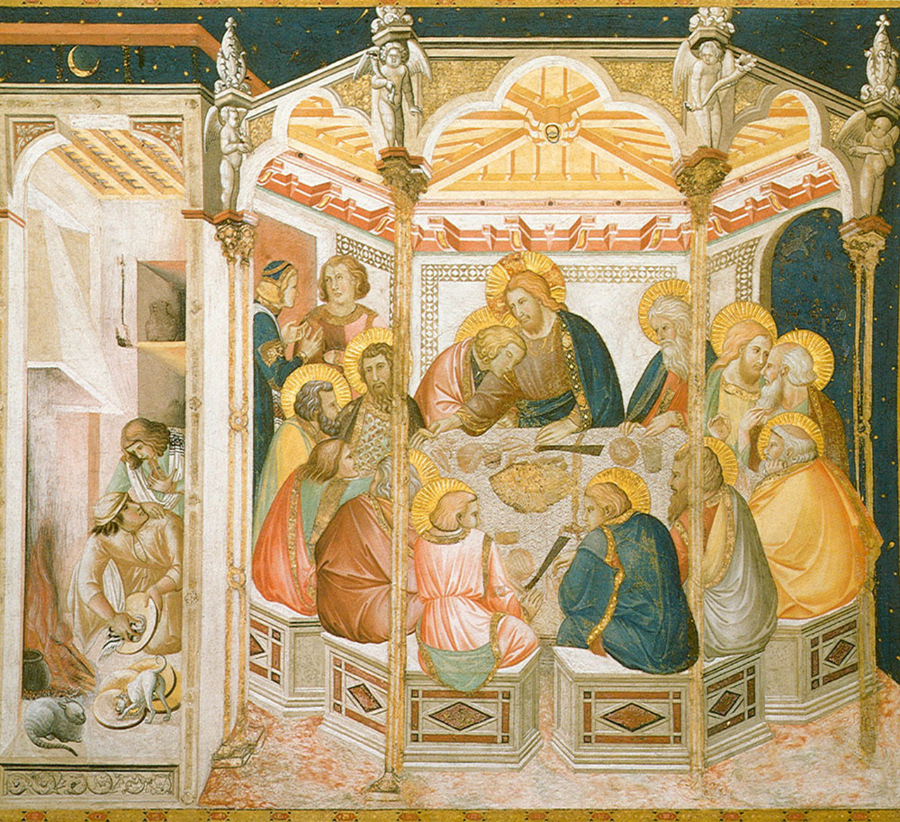 Pietro Lorenzetti (c. 1280 - 1348)  Assisi Frescoes: Last Supper  Fresco, about 1320  ower Basilica, San Francesco, southern transept, Assisi, Italy