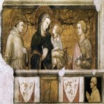 Pietro Lorenzetti (c. 1280 - 1348)  Madonna with St Francis and St John the Evangelist  c. 1320  Fresco  Lower Church, San Francesco, Assisi, Italy