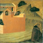 Pietro Lorenzetti (c. 1280 - 1348)  Humilitas Leaves the Monastery  Gold and tempera on panel, 1316  Galleria degli Uffizi, Florence, Italy