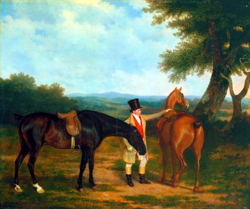 Jacques-Laurent Agasse (1767-1849)  Two Hunters with a Groom  Oil on canvas, c.1805  25 x 29 7/8 inches (63.8 x 75.9 cm)  Tate Gallery, London