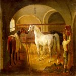 Jacques-Laurent Agasse (1767-1849)  Stallinneres [Inside the Stable]  Oil on canvas  8 3/4 x 10 3/4 inches (22.5 x 27.5 cm)  Private collection