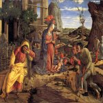 Andrea Mantegna (Isola di Cartura, about 1430/31 - Mantua, 1506)  The Adoration of the Shepherds  Tempera on canvas transferred  wood, c.1450-1451  40 x 55 1/2 inches (101.60 x 141.22 cm)  Metropolitan Museum of Art, Manhattan, New York, USA