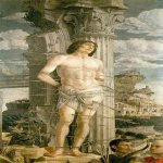 Andrea Mantegna (Isola di Cartura, about 1430/31 - Mantua, 1506)  St Sebastian  Oil on wood, 1456-1459  100 3/8 x 55 inches (255 x 140 cm)  Musée du Louvre, Paris, France