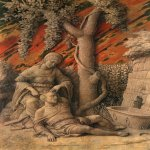 Andrea Mantegna (Isola di Cartura, about 1430/31 - Mantua, 1506)  Samson and Delilah  Tempera on linen, c.1500  18 1/2 x 14 3/8 inches (47 x 36.8 cm)  National Gallery, London, England