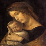 Andrea Mantegna (Isola di Cartura, about 1430/31 - Mantua, 1506)  Madonna with Sleeping Child  Tempera on canvas, c.1465-1470  16 7/8 x 12 1/2 inches (43 x 32 cm)  Gemäldegalerie, Staatliche Museen, Berlin, Germany