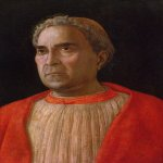 Andrea Mantegna (Isola di Cartura, about 1430/31 - Mantua, 1506)  Portrait of Cardinal Lodovico Trevisano  Tempera on wood, c.1459-1469  17 1/4 x 12 7/8 inches (44 x 33 cm)  Gemдldegalerie, Staatliche Museen, Berlin, Germany