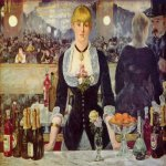 Édouard Manet (1832 – 1883)  A Bar at the Folies-Bergère (Un bar aux Folies Bergère)  Oil on canvas, 	1882  96 cm × 130 cm (37.8 in × 51.2 in)  Courtauld Institute of Art, London, United Kingdom