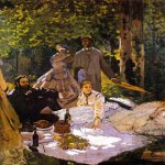 &amp;#201;douard Manet (1832  1883)  Le d&amp;#233;jeuner sur l\&#039;herbe, (right section), with Gustave Courbet  Oil on canvas, 1865-1866  Mus&amp;#233;e d\&#039;Orsay, Paris, France