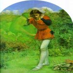 John Everett Millais (8 June 1829 – 13 August 1896)  Ferdinand Lured by Ariel  Oil on canvas, 1850  65 cm × 51 cm (25.5 in × 20 in); 64.8 cm diameter (50.8 in)  Private Collection