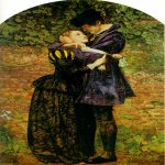 John Everett Millais (8 June 1829 – 13 August 1896)  A Huguenot  Oil on canvas, 1852  92.71 cm × 64.13 cm (36.5 in × 25.25 in)  Private Collection