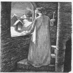 John Everett Millais (8 June 1829 – 13 August 1896)  St. Agnes Eve  Wood engraving, 1857  4.5 x 3.3 inches  Private collection