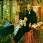 John Everett Millais (8 June 1829 – 13 August 1896)  James Wyatt and His Granddaughter Mary  Oil on panel, 1849  35.6 x 45.1 cm  Private collection