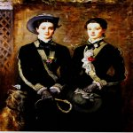 John Everett Millais (8 June 1829 � 13 August 1896)  Twins (Grace and Kate Hoare)  Oil on canvas, 1876  114.3 x 154.94 cm  (3' 9