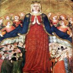 Lippo Memmi (born in Siena, active by 1317, died 1356 in Siena)  Madonna della Misericordia  Tempera on panel, 1350s  Chapel of the Corporal, Duomo, Orvieto, Italy