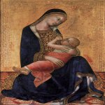 Lippo Memmi (born in Siena, active by 1317, died 1356 in Siena)  Madonna and Child  Poplar, 1340s  32 x 23 cm  Staatliche Museen, Berlin, Germany