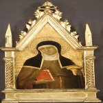 Lippo Memmi (Filippo di Memmo)(born in Siena, active by 1317, died 1356 in Siena)  Saint Clare  Tempera on wood, gold ground, ca. 1330  Overall, with shaped top and engaged (modern) frame, 19 x 8 in.   (48.3 x 20.3 cm); painted surface 15 1/2 x 7 1/2 in.