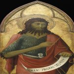 Lippo Memmi (Filippo di Memmo)(born in Siena, active by 1317, died 1356 in Siena)  Saint John the Baptist  Tempera on panel, c. 1325  Overall: 94.6 x 45.7 cm (37 1/4 x 18 in.) framed: 99.1 x 48.3 x 6 cm (39 x 19 x 2 3/8 in.)  Musee du Louvre, New York, US