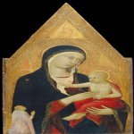Lippo Memmi (Filippo di Memmo)(born in Siena, active by 1317, died 1356 in Siena)  Madonna and Child with Donor  Tempera on panel, c. 1335  Overall: 56.5 x 24.1 cm (22 1/4 x 9 1/2 in.) framed: 70 x 36.2 x 5.1 cm (27 9/16 x 14 1/4 x 2 in.)  National Galler