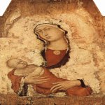 Simone Martini (Siena, 1284 - Avignon, 1344)  Mary with Child  Tempera on panel, c. 1321  88 × 51 cm (34.64 × 20.079 in)  Pinacoteca Nazionale di Siena, Siena, Italy