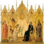 Simone ГЊartini (Siena, 1284 - Avignon, 1344)  and Lippo Memmi (born in Siena, active by 1317, died 1356 in Siena)  Annunciation  Tempera on panel, 1333  Galleria degli Uffizi, Florence, Italy