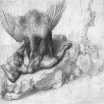 Michelangelo di Lodovico Buonarroti Simoni (1475 – 1564)  Tityus  c. 1533  Black chalk, 19 x 33 cm  Royal Library, Windsor, United Kingdom