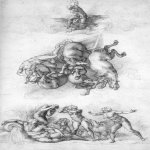 Michelangelo di Lodovico Buonarroti Simoni (1475 – 1564)  The Fall of Phaeton  c. 1533  Black chalk, 41,3 x 23,4 cm  Royal Library, Windsor, United Kingdom