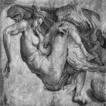 Michelangelo di Lodovico Buonarroti Simoni (1475 � 1564)  Leda and the Swan  Engraving, 305 x 407 mm  British Museum, London, United Kingdom