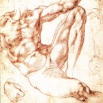 Michelangelo di Lodovico Buonarroti Simoni (1475 � 1564)  Study for Adam  c. 1510  Red chalk, 19,3 x 25,9 cm  British Museum, London, UK