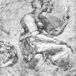 Michelangelo di Lodovico Buonarroti Simoni (1475 – 1564)  Study of a Seated Woman  Chalk  Musée Condé, Chantilly, France