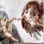 Michelangelo di Lodovico Buonarroti Simoni (1475 – 1564)  The Creation of Adam  c. 1511  Fresco, 480 cm × 230 cm (189.0 in × 90.6 in)  Sistine Chapel, Apostolic Palace, Vatican City