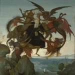 Michelangelo di Lodovico Buonarroti Simoni (1475 – 1564)  The Torment of Saint Anthony  c. 1487-1488  Oil and tempera on panel  47 cm × 35 cm (18 1/2 in × 13 1/4 in)  Kimbell Art Museum, Fort Worth, Texas, USA
