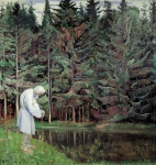 Mikhail Vasilyevich Nesterov (1862-1942)  Elder - The servant of God Oil on canvas