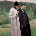 Mikhail Vasilyevich Nesterov (1862-1942)  Philosophers  (Portrait of Pavel Florenskiy and Sergey Bulgakov) Oil on canvas, 1917 123Гµ125 cm The Tretyakov Gallery, Moscow, Russia