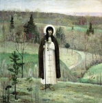 Mikhail Vasilyevich Nesterov (1862-1942)  St. Sergiy Radonezhskiy  Oil on canvas, 1899 248Гµ248 cm The Tretyakov Gallery, Moscow, Russia