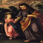 Josefa de Óbidos (1630 – 1684)  S. Joseph and Child  Oil on canvas, c. 1670  71 x 41 cm   National Museum of Ancient Art, Lisbon, Portugal