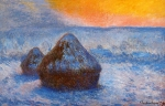 Claude Monet (1840�1926) Wheatstacks (Stacks of Wheat)(Sunset, Snow Effect) Oil on canvas,  1891 65.3 × 100.4 cm (25.7 × 39.5 in) Art Institute of Chicago