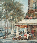 Vasily Igorevich Nesterenko (1967, Russia, Pavlograd) Cafe de Flore in Paris Oil on canvas, 1992 70 x 60 cm