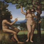 Mariotto Albertinelli (Italian, 1474–1515)  Adam and Eve, ca. 1509–13  Oil on panel (oak), 9 1/4 x 6 7/8 in. (23.5 x 17.5 cm)  Gift of Hannah D. and Louis Rabinowitz  1959.15.13a     Albertinelli painted these two scenes (see 1959.15.13b)