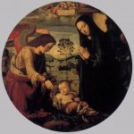 Adoration of the Child with Angel  1497-99  Panel, diameter 86 cm  Galleria Palatina (Palazzo Pitti), Florence