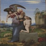 Mariotto Albertinelli (Italian, 1474–1515)  Sacrifice of Isaac, ca. 1509–13  Oil on panel (oak), 9 5/16 x 6 15/16 x 3/16 in. (23.6 x 17.6 x 0.48 cm)  Gift of Hannah D. and Louis M. Rabinowitz  1959.15.13b