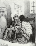 Perov Vasily Grigorevich (1833-1882) In the pawnshop Charcoal on paper,1867 43,2Гµ37,6 cm The State Tretyakov Gallery, Moscow, Russia