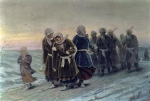 Perov Vasily Grigorevich (1833-1882) Return of the peasants from a funeral in the winter Cardboard Oil,1880 36�56,7 cm The State Tretyakov Gallery, Moscow, Russia