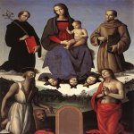 Pietro Perugino (1445-1523)  Madonna and Child with Four Saints (Tezi Altarpiece)  Oil on wood, 1500  71 5/8 x 62 1/8 inches (182 x 158 cm)  Galleria Nazionale dell'Umbria, Perugia, Italy